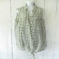 New $79 J Jill Top 1X Moss Green Plaid Silk Blend Tie Front Sleeveless Plus Size