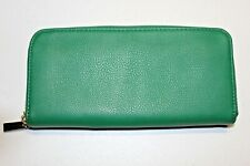 Unbranded Green Zip Around Wallet Organizer Large Flat Holds with Change Pocket
