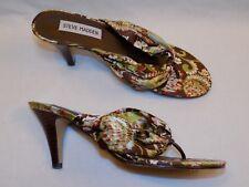 7.5 M Steve Madden Baali Ladies Womens Shoe High Heel Sandals Green Brown Floral