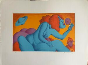 Michael Ciomakov litografia Nudo con Fiore 70x50 firmata numerata