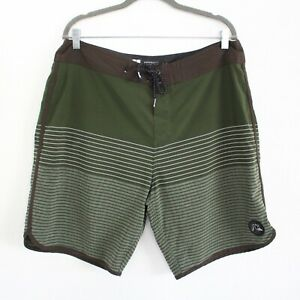 QUICKSILVER Green and Brown Surf Board Shorts Swim Trunks - Men's Size 36
