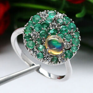 NATURAL WHITE RAINBOW OPAL EMERALD & TOPAZ RING 925 STERLING SILVER