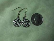 Pentagram Pentacle Earrings Wicca Magic Drop Dangle Silver