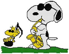 Counted Cross Stitch Pattern Peanuts Jazzy Snoopy & Woodstock - Free US Shipping