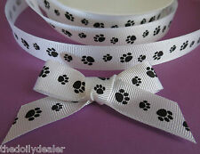 DOG/CAT PAW PRINT BLACK AND WHITE GROSGRAIN RIBBON 16MM X 2 METERS