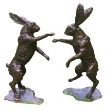 Bronze Boxing hares Life size , pair of hot cast boxing hares , bronze hare pair