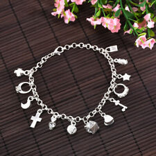 Solid 925Sterling 13 Silver Bracelet Charms H144 Women Crystal Wholesale Jewelry