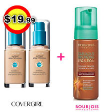 TWO Covergirl Outlast 3 in 1 Foundation 805 IVORY + Bourjois Face Body Tan Mouse