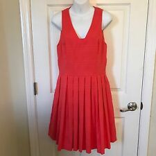 Ali Ro Women's Size 8 Pleated Coral Textured Sleeveless A-line Dress F41