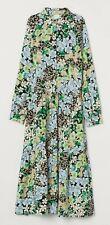 H&M Trend Blue Green Floral Midi Dress M 12 14 BNWT