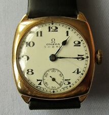 7-BEAUTIFUL OLD SOLID 9 CARAT GOLD SUB SECONDS MANUAL WIND GENTS OMEGA - SUPERB