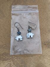 Gray Stone Animal Shape Bear Star Sterling Silver 925 Dangle Earrings White