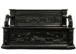 Antique Hall Bench / Settee, Early  Italian Walnut, 1600s, Extensive Carvings!!