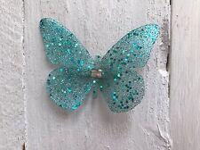 Teal Sparkly Butterfly Glitter Hair Clip Bridesmaid Flower Girl Wedding