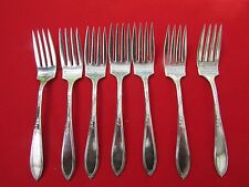 """1919 Rosemary Pattern Lot of 7 Salad Dessert Forks by Wm Rogers Silver Plate 6"""""""