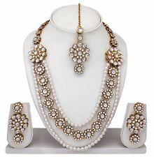 Bollywood Bridal Ethnic Gold Tone Diamond & kundan Necklace Earrings Jewelry Set