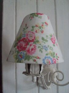 ** CATH KIDSTON CANDLE LAMPSHADES **WHITE SPRAY FLOWERS FABRIC**COUNTRY CHIC