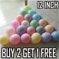 "12""inch Balloons Small Round 50pk Pastel Qualatex Latex Party Birthday Decor fs"