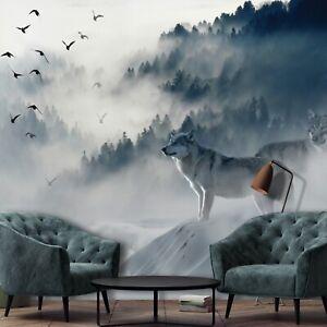 Vlies Fototapete Wolf Wald Nebel Bäume Wohnzimmer Schlafzimmer Vögel Tiere 5