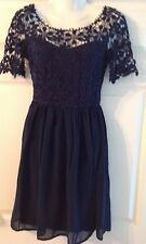 Club L crochet skater dress scoop back navy coral 8,10,16 ,18 party prom summer