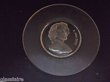 """Vintage Val St Lambert Crystal A VAN DYCK Crystal Plate 8"""" Signed Dated"""