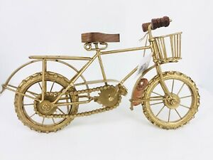 Zimlay Eclectic Bicycle Statue w Basket Gold with Wood Handles/Seat Great Gift