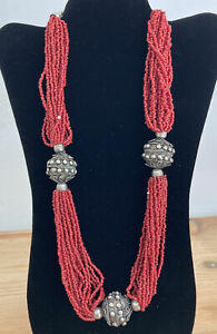 CHUNKY RED VINTAGE SEED BEAD METAL BALL NECKLACE
