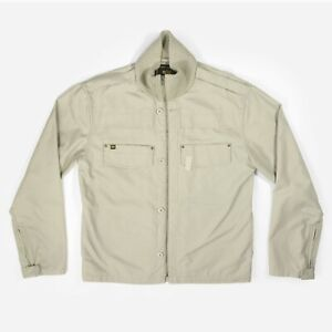 Alpha Industries Field Jacket Military Coat Army Zip Up Khaki Beige Men's Large