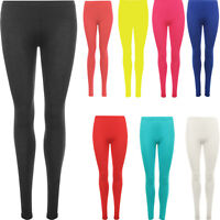 Ladies Womens Full Length Cotton Leggings All Colours Smart Fit All Size S-XL