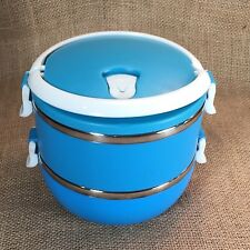 Blue Stackable Bento Stainless Steel Double Layer Lunch Box by Wuhu