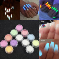 12 Colors Acrylic Fluorescent Powder Glow In the Dark Manicure Nail Arts Pigment