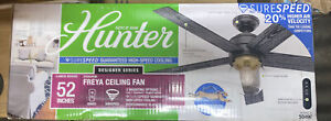 Hunter Freya 52 in. LED Indoor Matte Black Ceiling Fan with Light and Remote NEW