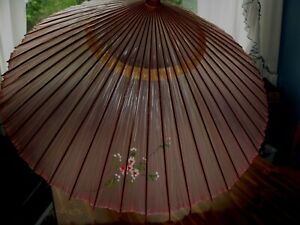 """PARASOL UMBRELLA CLEAR PINK FLORAL  BAMBOO OPENS 36"""""""