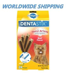 Pedigree Dentastix Dental Dog Treats Toy/Small Beef Flavor 24 Ct WORLD SHIPPING