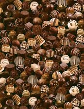 Food Fabric - Chocolate Covered Candy on Black - Timeless Treasures Yard