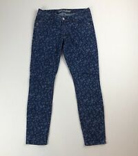 Old Navy Rockstar Blue Floral Print Stretch Skinny Denim Jeans Sz 10