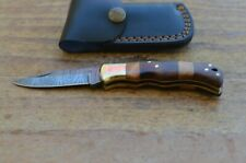 damascus custom made folding pocket knife From The Eagle Collection Z4205