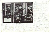 Antique WW1 military postcard Leichtes Blut German musicians Soldiers smoking
