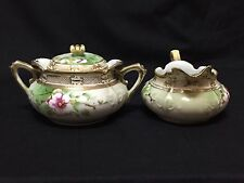 Nippon Hand Painted Creamer & Sugar Bowl Set - Floral with Gold Beading