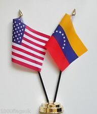 United States of America USA & Venezuela 8 Stars Friendship Table Flag Set