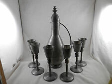 Vintage Savo Pewter Pitcher & Goblets Made in Norway 6 Pewter & Brass goblets