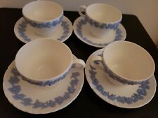 Wedgwood Embossed Queen's Ware Lavender Demitasse Cup & Saucer Set of 4