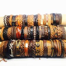 wholesale 50pcs brown black retro men's leather handmade surfer cuff bracelets