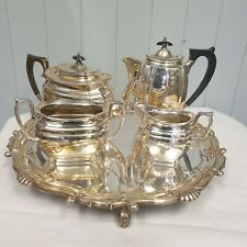 More details for antique silver plated tea and coffee set. hb&h. including silver plated tray
