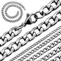 Halskette Herren Edelstahlkette 55cm Panzerkette Königskette Silbern Massiv