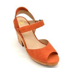 Johnston & Murphy Womens Ashlyn Platform Quarter Strap Sandals Sz 7.5 Mango  New