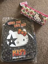 HELLO KITTY BACK TO SCHOOL SET - 'KISS' BACKPACK & PENCIL CASE - BOTH NEW!