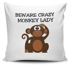 Beware Crazy MONKEY LADY Cushion Cover