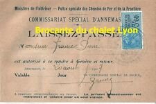 Document laissez passer Genève 1927 Police Annemasse