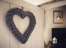 HEART WREATH wall hanging,GREY,30 cm,home decoration,wall door wreath